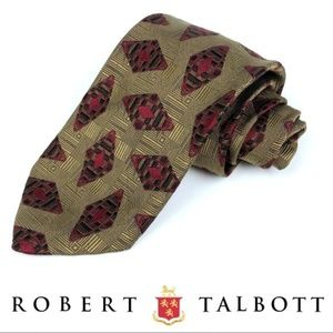 Wide Tan And Red Diamond Geometric 100% Silk Tie